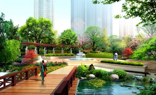 汉中欧城景观园林效果图