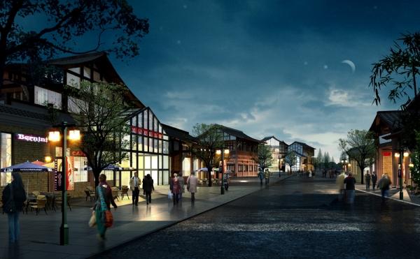 仿古商业街效果图也种类极多,包括古建筑商业街透视效果图及鸟瞰效果