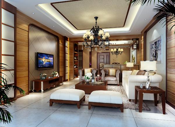 简约中式客厅效果图