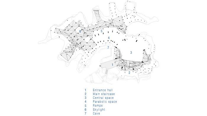 已建成,动物园混凝土假山中新的建筑空间