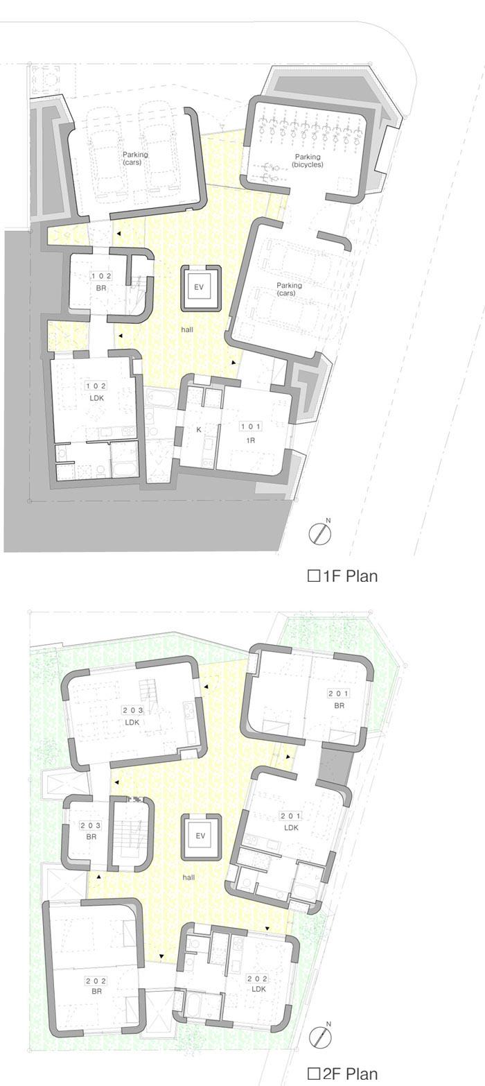 暧昧空间 箱体 日本东京 建筑 集合公寓 住宅 六层高的樱之集合公寓位于日本东京一隅。 混凝土楼板连接7个箱体,箱体之间的空间是共享露台,这是介于公共与私有的暧昧 空间。每个住宅单元占据一层的单个或几个箱体(个别户型是复式),每个房间都有 自然通风和采光。屋顶一片弧状的混凝土片串联起几个箱体,形成共享的遮阳棚北侧 是一排樱花树,东边则接临大片的绿地。建筑师在建筑的中心部分建立垂直核心筒, 围绕核心筒布置了11个出租单元。建筑的外形从任何方向看过去都是一个性格。 Sakura Apartment is a