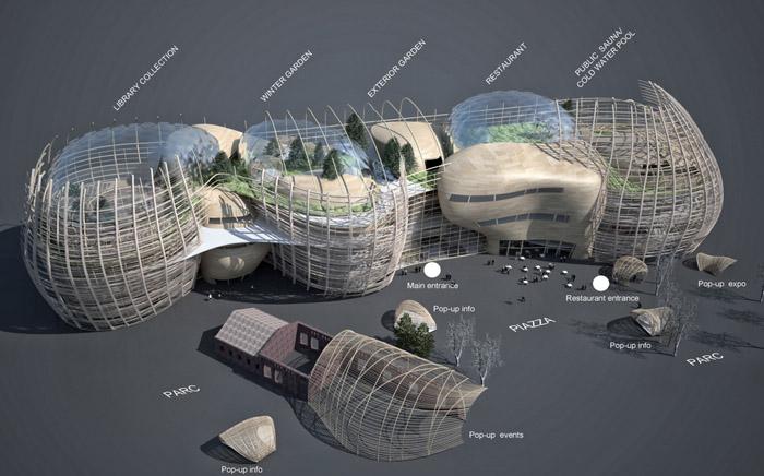 赫尔辛基木结构中央图书馆竞赛方案建筑_成都效果图