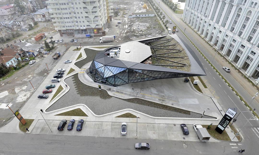 加油站快餐厅屋顶花园建筑设计效果图: