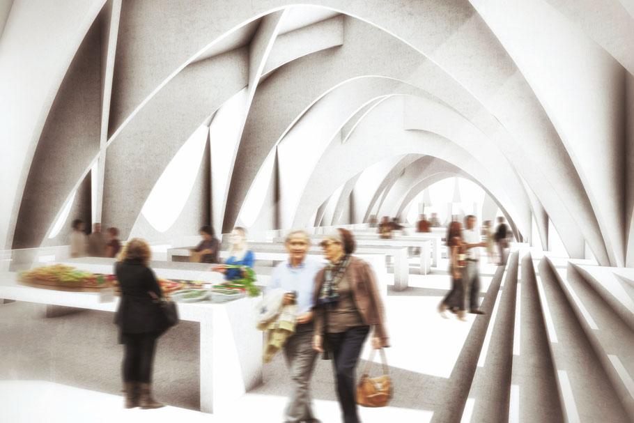 斯洛文尼亚商业菜市场拱廊集市设计效果图:   坡屋顶与周边