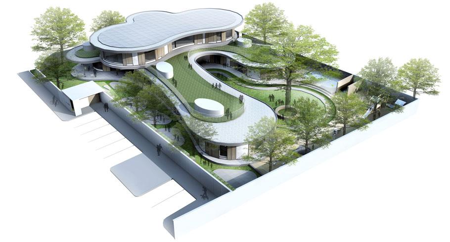 泰国曼谷曲线造型教育建筑肯辛顿国际幼儿园设计效果图图片